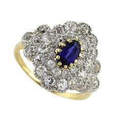 Antique Blue Sapphire Diamond Gold Platinum Ring