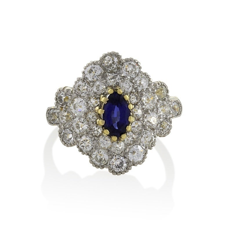 antique blue sapphire gold platinum ring at 1stdibs