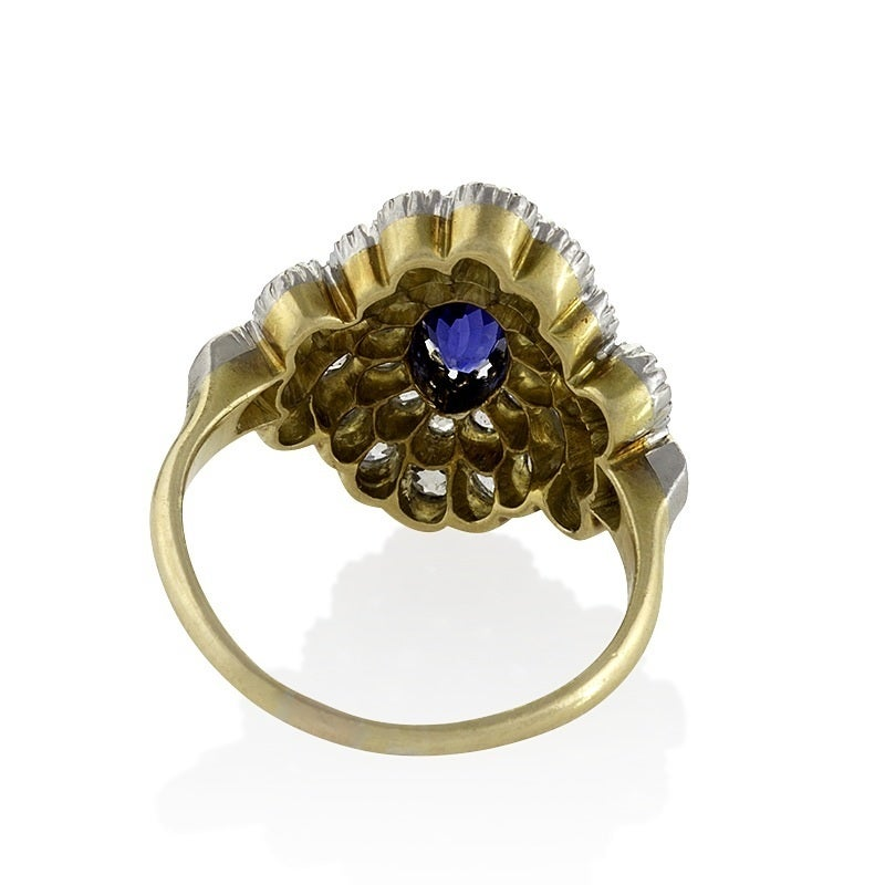 antique blue sapphire gold platinum ring for sale