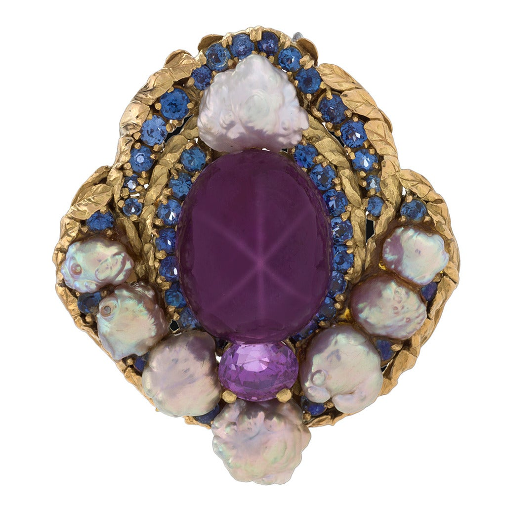 Louis Comfort Tiffany Arts and Crafts Pearl Sapphire and Gold Brooch For Sale