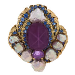 Louis Comfort Tiffany Arts and Crafts Pearl Sapphire and Gold Brooch