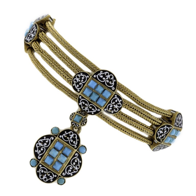 Antique French Enamel Turquoise Gold Locket Bracelet
