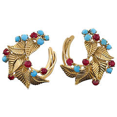 Marchak Paris Mid-Century Turquoise Ruby Gold Earrings
