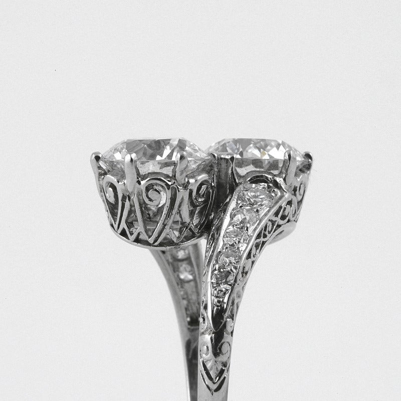 Women's Early Art Deco Diamond Platinum Crossover Ring
