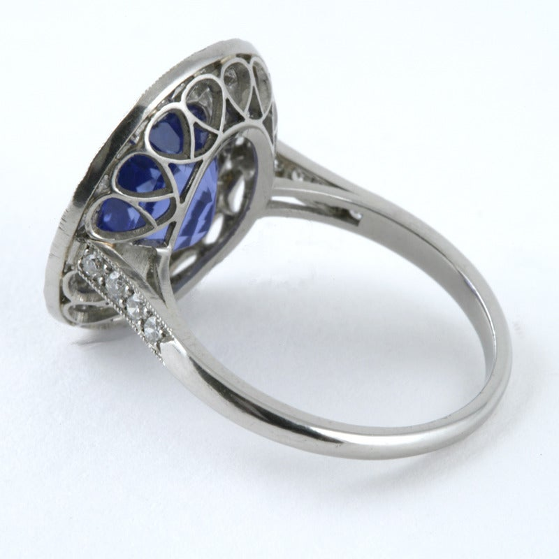 Blue Sapphire Diamond and Platinum Cluster Ring For Sale 2
