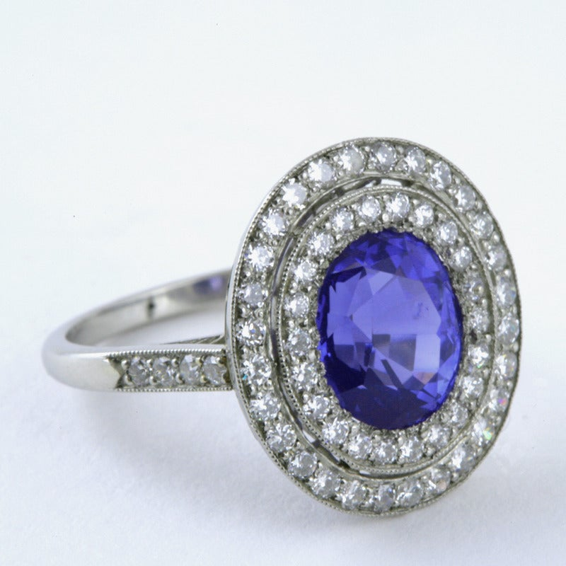 Blue Sapphire Diamond and Platinum Cluster Ring For Sale 1