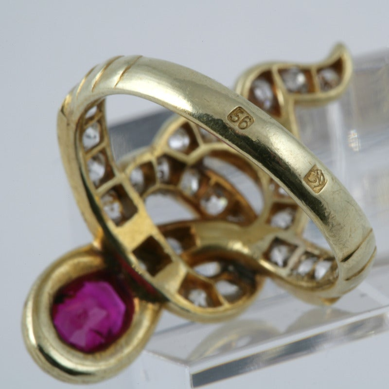antique russian ruby gold serpent ring at 1stdibs
