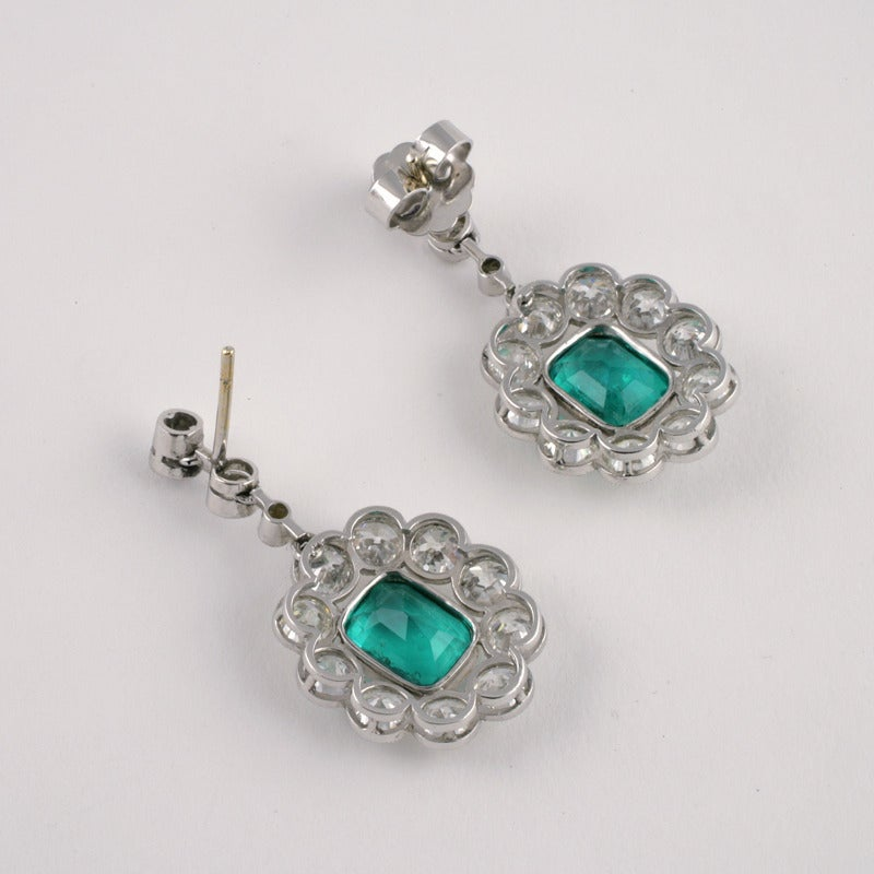 Edwardian Emerald Diamond Platinum Cluster Ear Pendants 3