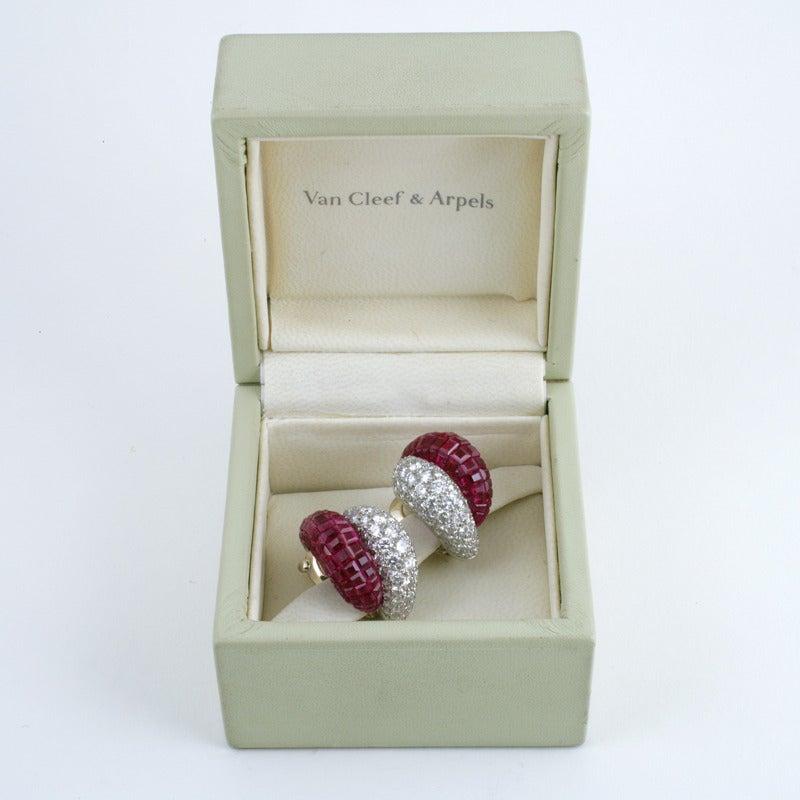 Van Cleef & Arpels Late-20th Century Ruby Diamond Platinum 'Mystère' Earrings 9