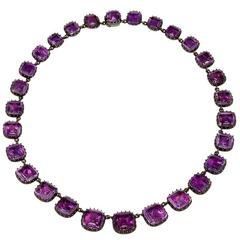 Antique English Georgian Amethyst Rivière Necklace