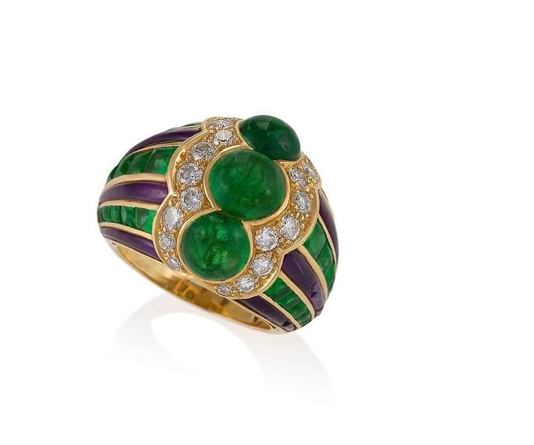 bulgari 1980 s emerald amethyst and gold ring for