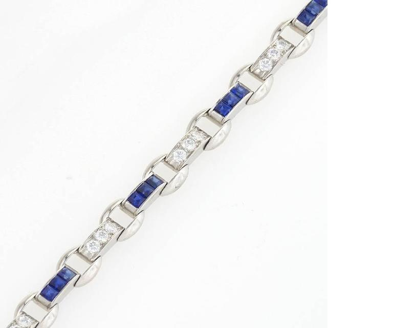 Oscar Heyman Diamond Sapphire Platinum Bracelet In Excellent Condition For Sale In New York, NY
