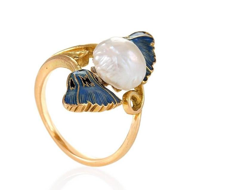René Lalique French Art Nouveau Pearl Gold and Enamel Ring In Excellent Condition In New York, NY