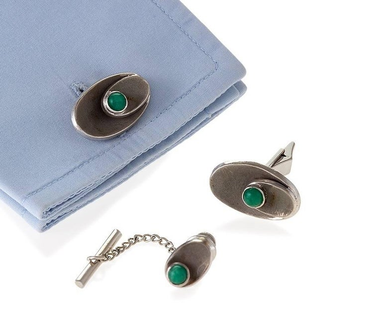 1950's Chrysophrase and Gold Cufflink and Tie Tack Set 3
