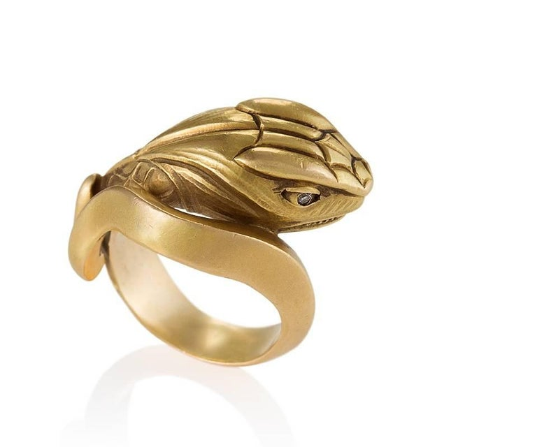 Antique Gold and Diamond Serpent Ring In Excellent Condition For Sale In New York, NY