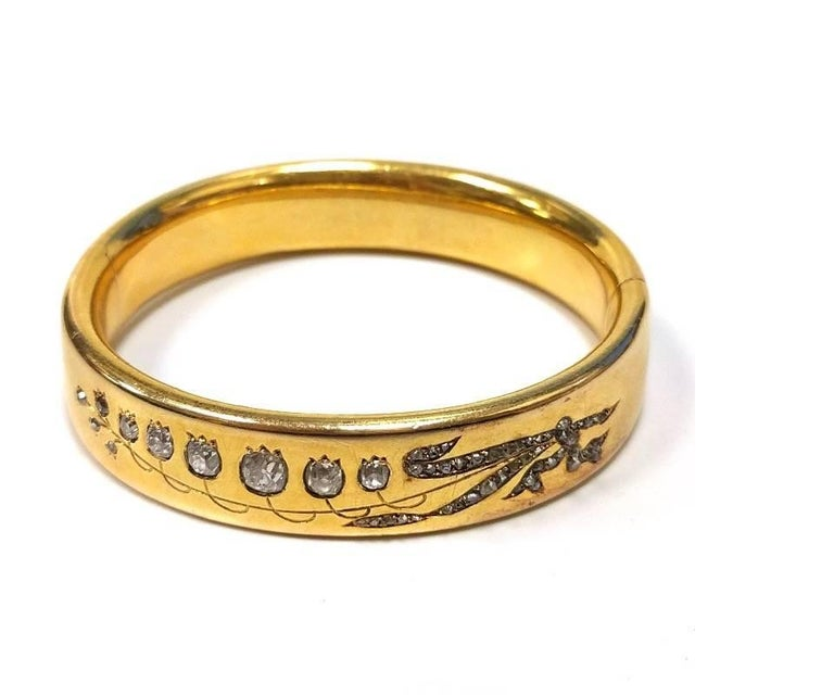 Antique French Diamond and Gold Lily of the Valley Bangle Bracelet In Excellent Condition For Sale In New York, NY