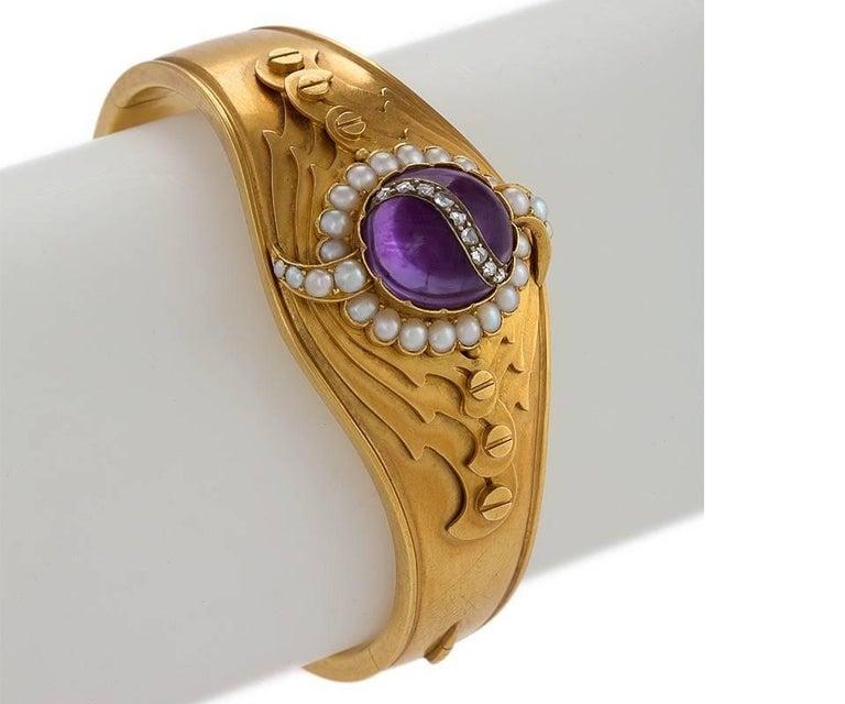 English Victorian Amethyst Pearl and Diamond Cuff Bracelet 2