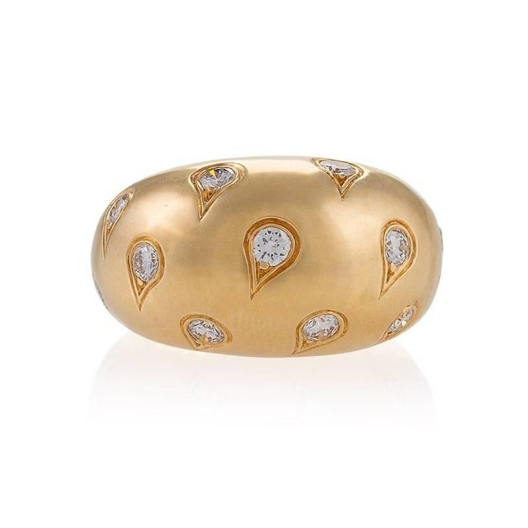Cartier Paris 1990s Diamond and Gold Bombé Ring 2