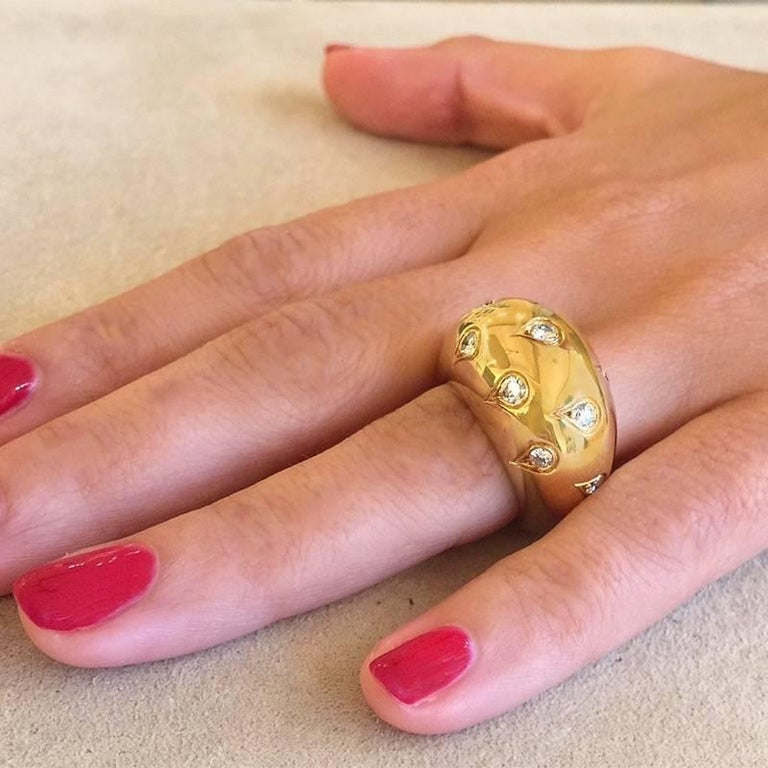 Cartier Paris 1990s Diamond and Gold Bombé Ring 4