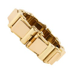 French Retro Pink and Yellow Gold Tank Track Bracelet