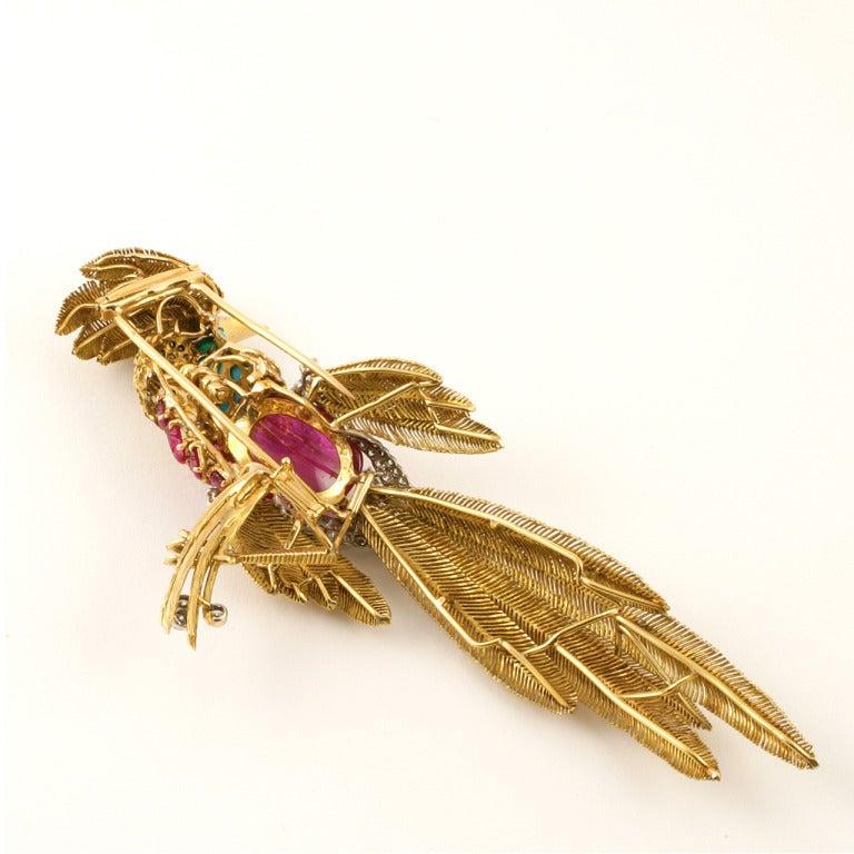 Jean Charles Mid 20th Century Multi-Gem Gold Platinum Bird Brooch 2