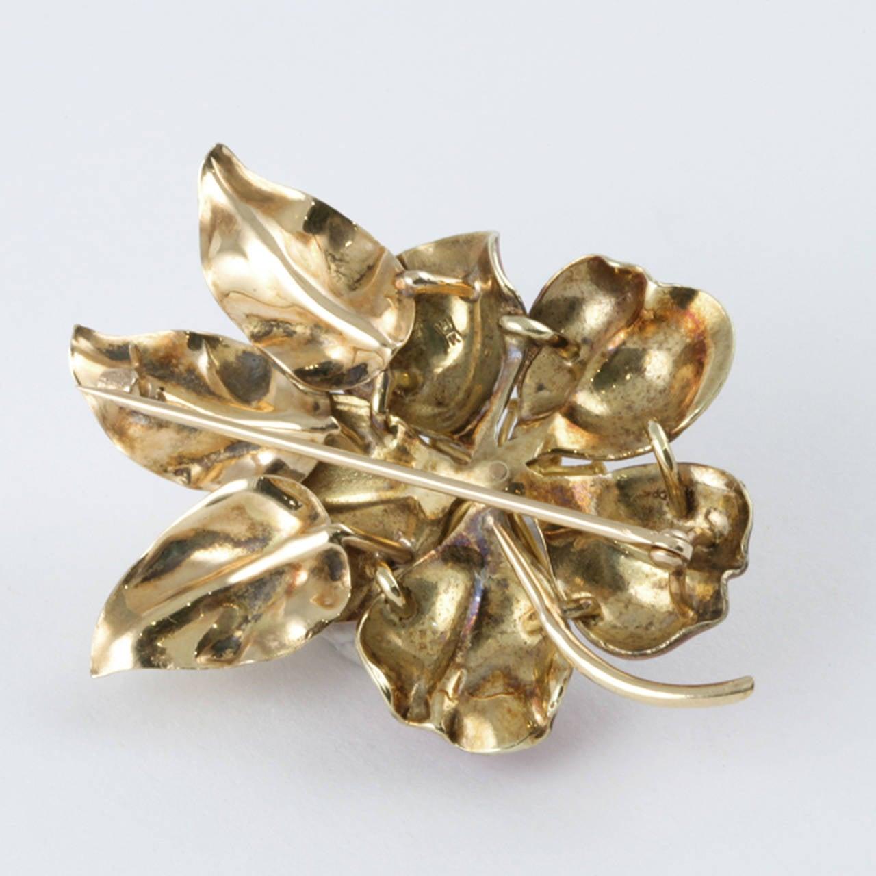 Hedges & Co. Art Nouveau Pearl, Gold and Enamel Flower Brooch 2