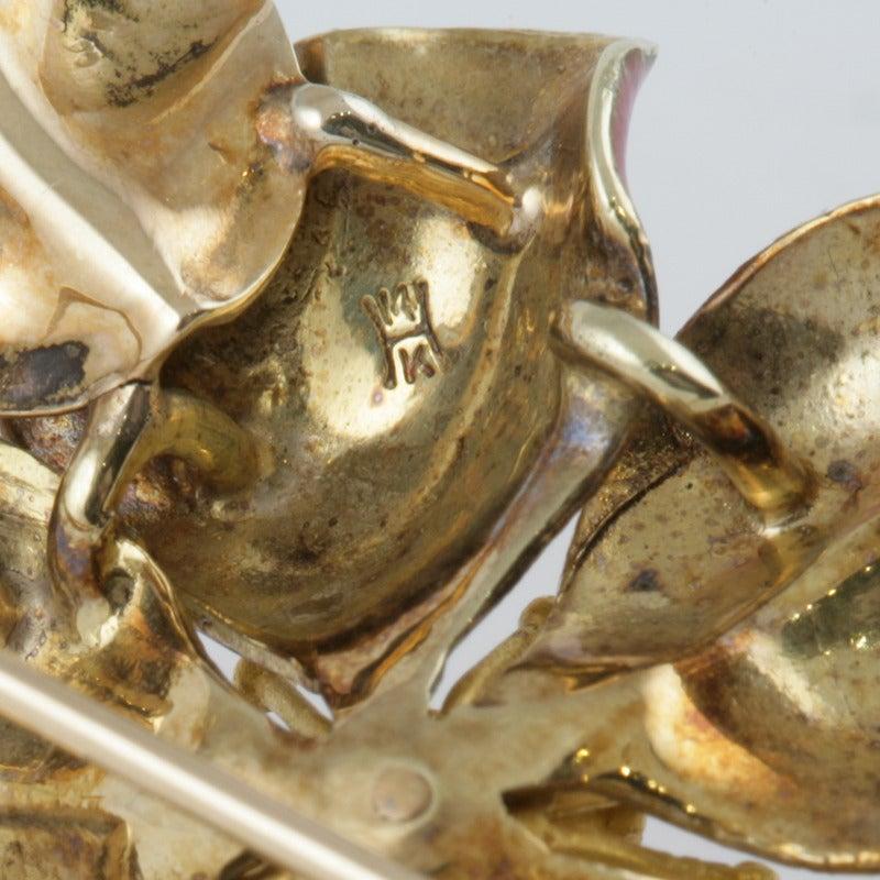 Hedges & Co. Art Nouveau Pearl, Gold and Enamel Flower Brooch 3