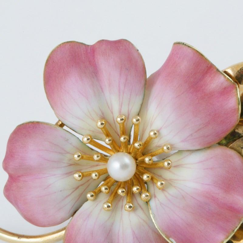 Hedges & Co. Art Nouveau Pearl, Gold and Enamel Flower Brooch 4