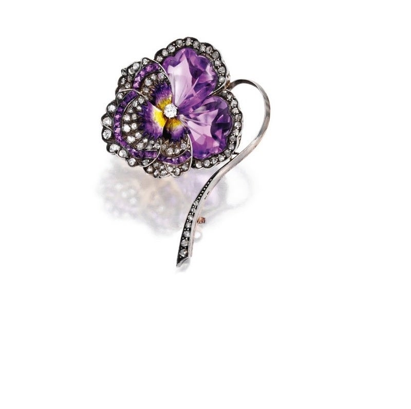 French Antique Enamel Amethyst Diamond Silver-Topped Gold Pansy Brooch 2