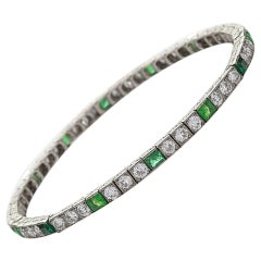 Van Cleef & Arpels Paris 1920's Art Deco Emerald Diamond Platinum Bracelet