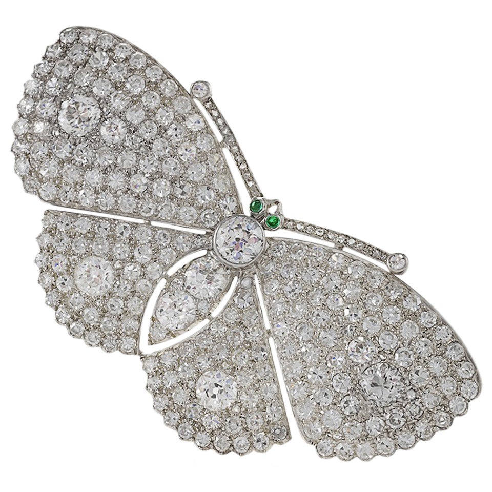 Late Art Deco Diamond Platinum Moth Brooch For Sale
