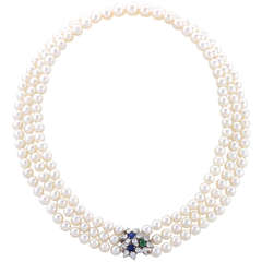 Tiffany & Co. Cultured Pearl Sapphire Emerald Diamond Necklace