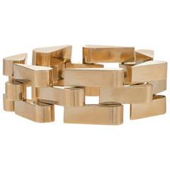 Retro Gold Tank Track Bracelet
