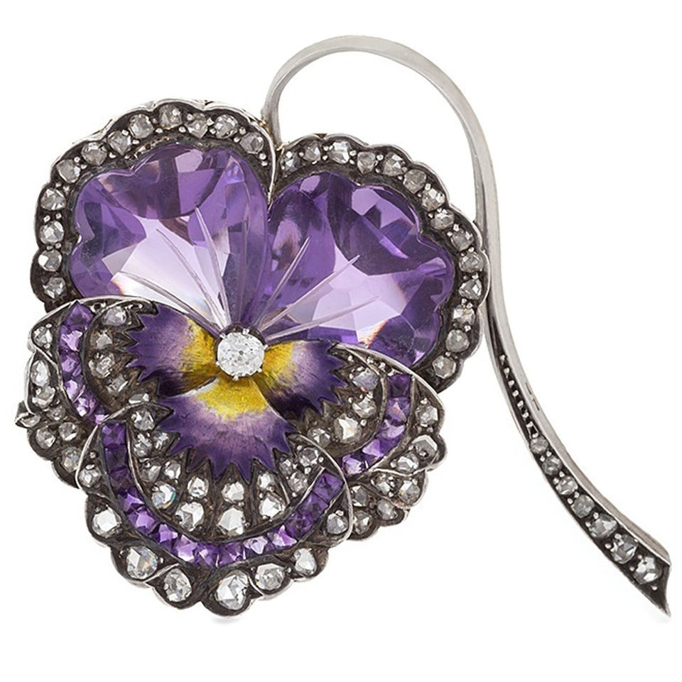 French Antique Enamel Amethyst Diamond Silver-Topped Gold Pansy Brooch 1