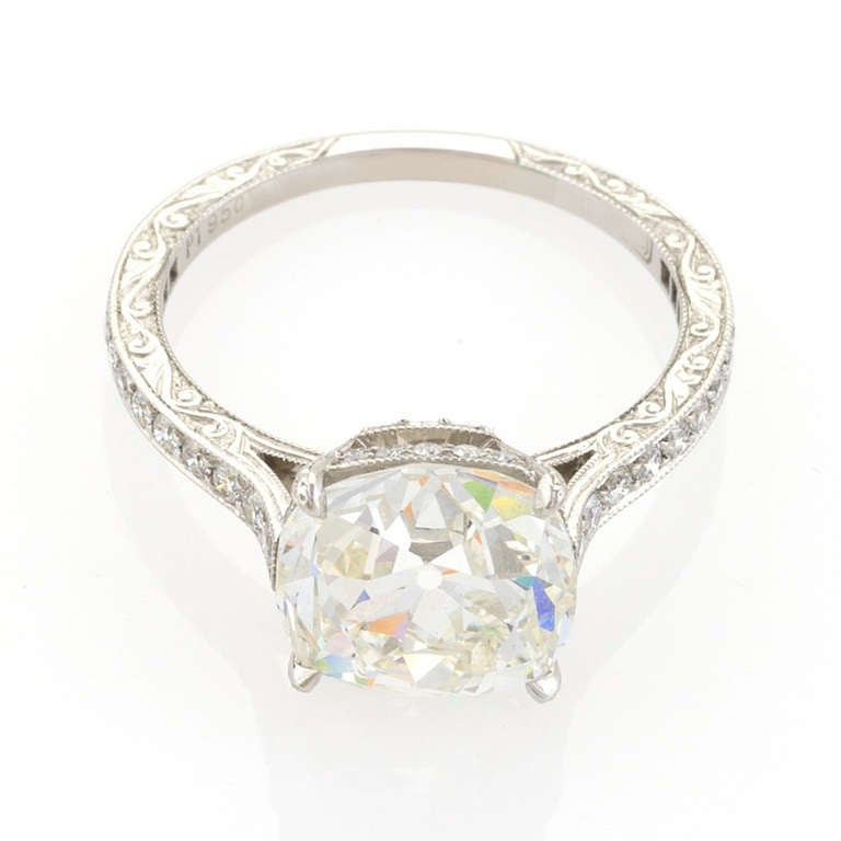 Antique Cushion Cut 4 07 Carat GIA Certified Diamond and Platinum Ring For Sa