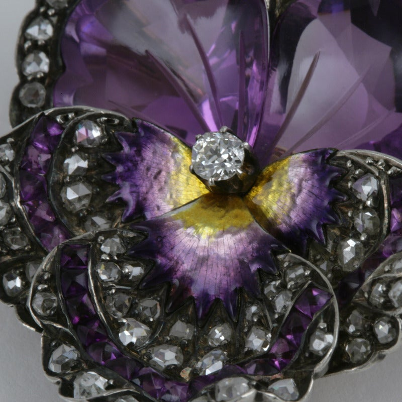 French Antique Enamel Amethyst Diamond Silver-Topped Gold Pansy Brooch 4