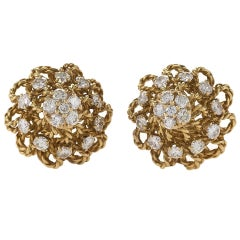 Marianne Ostier Mid-20th Century Diamond Gold Earrings