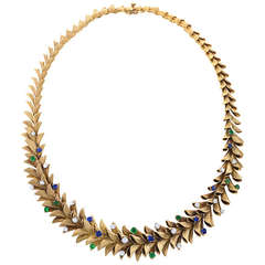 Birks French Diamond, Sapphire and Emerald Garland Necklace