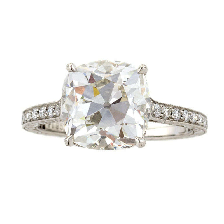 Antique Cushion-Cut  4.07 Carat GIA Certified Diamond and Platinum Ring