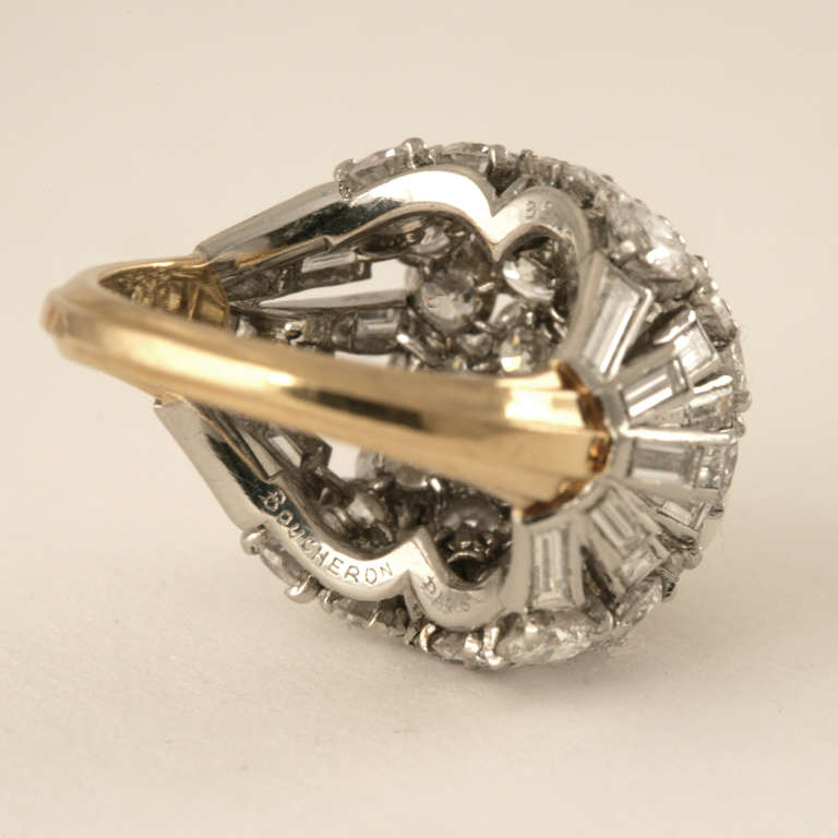 Boucheron Paris 1950's Diamond Gold and Platinum Bombé Ring 2