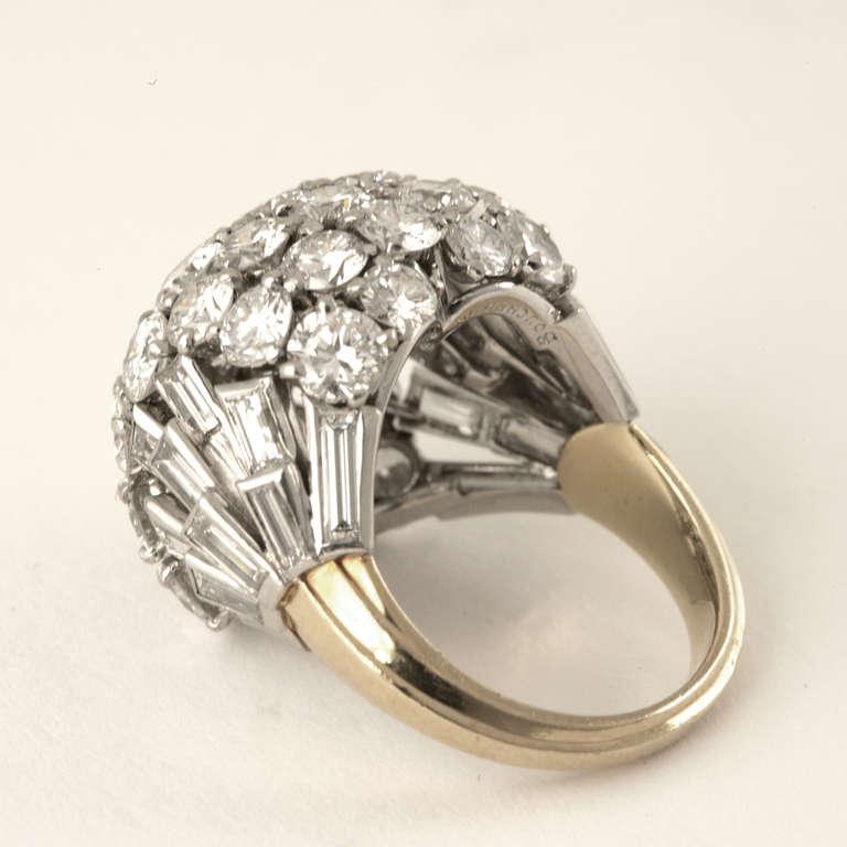 Boucheron Paris 1950's Diamond Gold and Platinum Bombé Ring 3