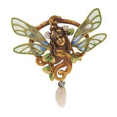 François Fleuret French Art Nouveau Plique-a-Jour Diamond Gold Brooch