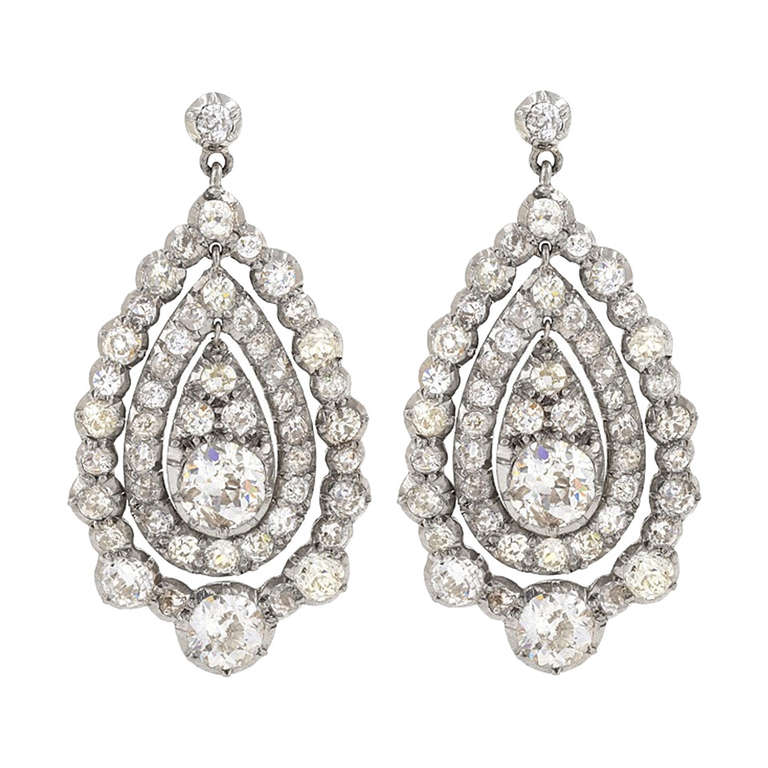 Antique Diamond Gold and Platinum Earrings