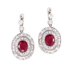 Edwardian Ruby Diamond Gold Platinum Dangle Earrings