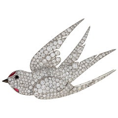 French 1930s Art Deco Ruby Diamond Platinum Dove Brooch