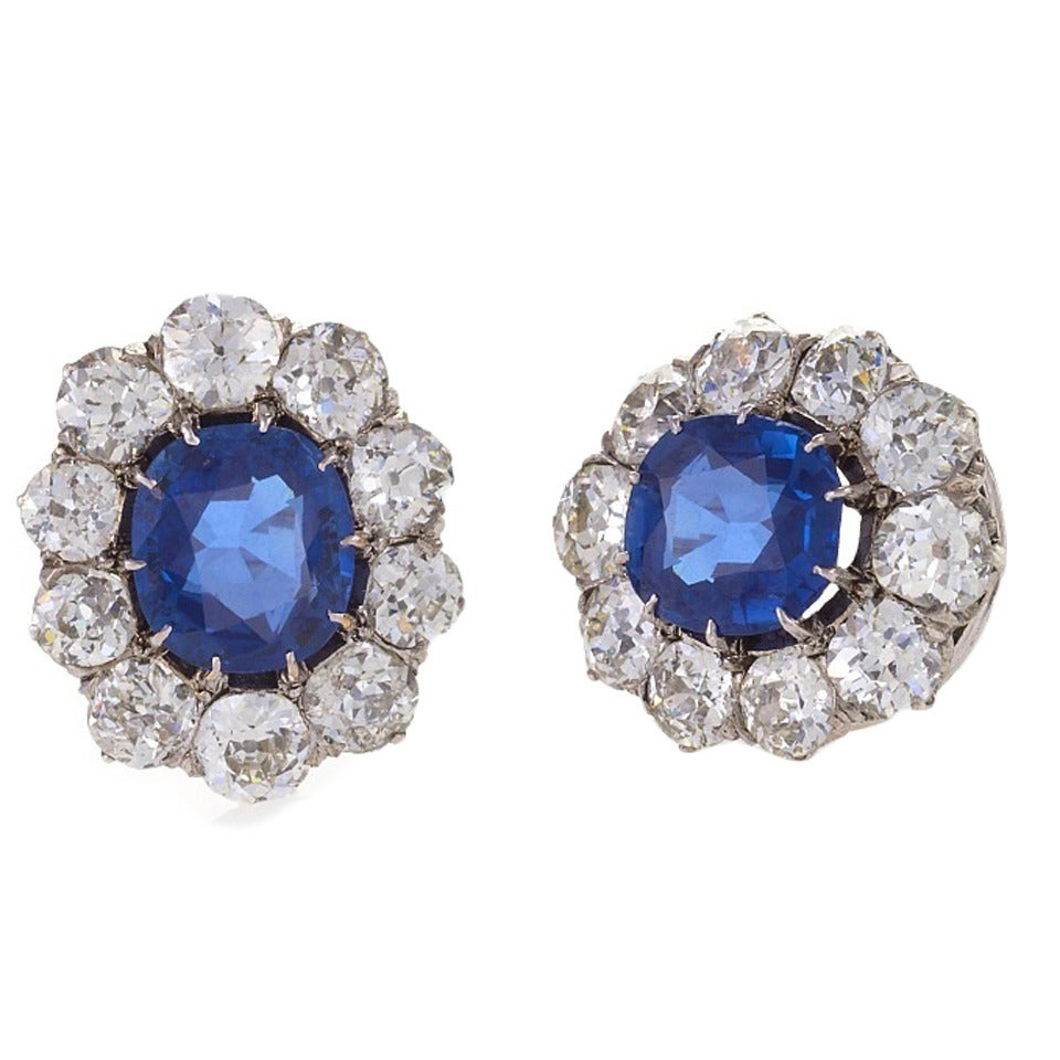 antique sapphire gold cluster earrings at 1stdibs