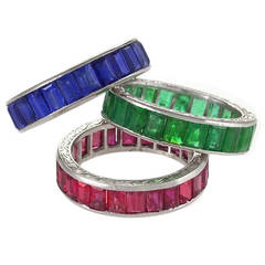 Mid-20th Century Sapphire, Emerald, Ruby Platinum Eternity Rings