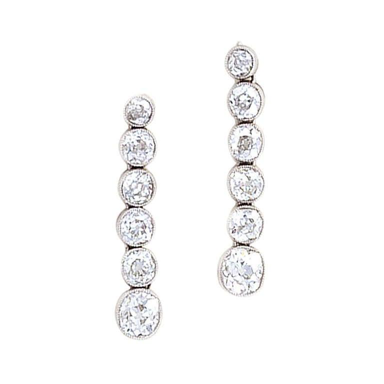 Line Art Earrings : Art deco earrings diamonds in a line set platinum