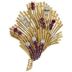 Tiffany & Co. Mid-20th Century Ruby Diamond Gold Brooch