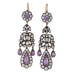 Antique Pink Topaz Diamond Silver Gold Chandelier Earrings